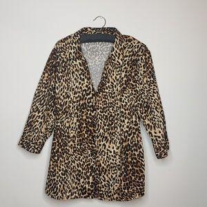 Lane Bryant cheetah print button up blouse